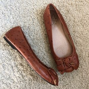 Anthropologie Ophelie brown ostrich leather flats